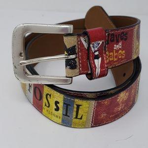 Fossil Beach Resort Theme Leather Belt Size L